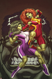 She-Hulks No.1 Cover: She-Hulk and Lyra Fighting Posters by Ed McGuinness