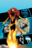 X-Men: Phoenix - Endsong No.2 Cover: Phoenix, Beast, Emma Frost, Cyclops and Wolverine Billeder af Greg Land