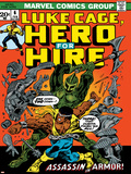 Marvel Comics Retro: Luke Cage, Hero for Hire Comic Book Cover No.6, Assassin in Armor! Posters
