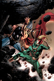 Thor No.84 Cover: Thor and Loki Fighting and Flying Posters by Steve Epting