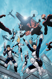 New X-Men No.16 Group: Hellion, Moonstar, Quill, Surge, Synch and Wind Dancer Print by Aaron Lopresti