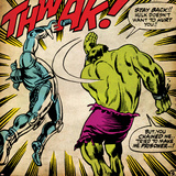Marvel Comics Retro: The Incredible Hulk Comic Panel, Fighting, Thwak! (aged) Kunstdruck