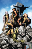 Young X-Men No.10 Cover: Anole, Rockslide, Greymalkin, Dust, Mirage, Sunspot and Ink Poster by Billy Tan