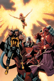 Ultimate X-Men No.93 Cover: Wolverine, Phoenix, Apocalypse and Onslaught Photo by Salvador Larroca