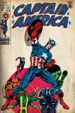 Marvel Comics Retro: Captain America Comic Book Cover No.111, with Hydra and Bucky (aged) Print