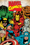 Marvel Comics Retro: Hulk, Thor, Spider-Man, Wolverine, Captain America, Iron Man and Silver Surfer Posters