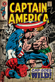 Marvel Comics Retro: Captain America Comic Book Cover No.106, Cap Goes Wild (aged) Posters
