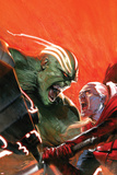 Fear Itself: Hulk vs Dracula No.1 Cover: Hulk and Dracula Fighting and Screaming Poster par Gabriele DellOtto