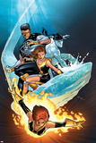 Ultimate X-Men No.57 Cover: Grey, Jean, Iceman, Cyclops and Shadowcat Fighting Prints