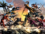 New Avengers No.20: Daredevil, Luke Cage, Iron Fist, Spider-Man, Dr. Strange and Others Fighting Poster av Mike Deodato