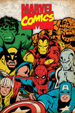Marvel Comics Retro: Hulk, Thor, Spider-Man, Wolverine, Captain America, Iron Man, and Thing Prints