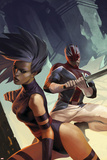 X-Men: Die By The Sword No.5 Cover: Psylocke and Captain Britain Swinging Prints