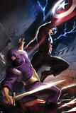 Captain America No.610 Cover: Captain America and Baron Zemo Fighting Prints by Marko Djurdjevic