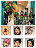 New X-Men: Academy X Yearbook Group: Pixie, Match, Trance, Wolf Cub, D.J., Preview and Paragons Print by Georges Jeanty