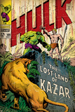 Marvel Comics Retro: The Incredible Hulk Comic Book Cover No.109, the Lost Land of Ka-Zar (aged) Prints