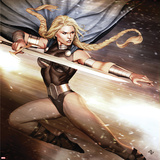 Secret Avengers No.14 Cover: Valkyrie Jumping with a Sword Prints by Adi Granov