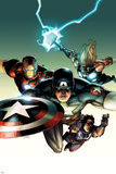 Ultimate Avengers vs. New Ultimates No.2 Cover: Captain America, Iron Man, Thor, and Hawkeye Flying Posters par Leinil Francis Yu