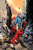 Captain America No.3 Cover: Punched Through the Street Posters by Steve MCNiven