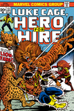 Marvel Comics Retro: Luke Cage, Hero for Hire Comic Book Cover No.13, Fighting Lion-fang, Wild Cats Print