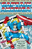 Marvel Comics Retro: Captain America Comic Panel; Smashing through Window; Red, White and Blue Poster