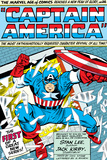 Marvel Comics Retro: Captain America Comic Panel; Smashing through Window; Red, White and Blue Posters