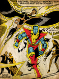 Marvel Comics Retro: X-Men Comic Panel, Colossus, Storm, Charging and Flying (aged) Poster