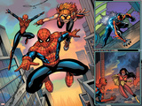 Spider-Man Family No.1 Cover: Spider-Girl, Spider-Man, Arana and Spider Woman Fighting Poster by Ron Lim