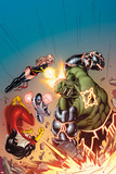 Avengers No.15 Cover: Hulk, Spider Woman, Ms. Marvel, and Protector Smashing, Jumping and Flying Posters by Ed McGuinness