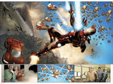 Invincible Iron Man No.32: Panels with Iron Man Shooting Posters by Salvador Larroca