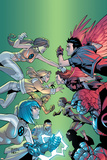 New X-Men No.6 Cover: Wind Dancer, Surge, Hellion, Rock Slide, Dust, New X-Men and Hellions Print by Randy Green
