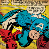 Marvel Comics Retro: Captain America Comic Panel, Monologue, I'm in Luck! (aged) Photo
