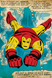 Marvel Comics Retro: The Invincible Iron Man Comic Panel, Swimming (aged) Print