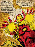 Marvel Comics Retro: The Invincible Iron Man Comic Panel, Fighting and Shooting (aged) Prints