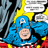 Marvel Comics Retro: Captain America Comic Panel, Villain Monologue, Say your Prayers Poster