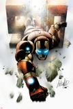 Invincible Iron Man No.500 Cover: Iron Man Flying Poster by Salvador Larroca
