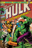Marvel Comics Retro: The Incredible Hulk Comic Book Cover No.181, with Wolverine (aged) Plakater