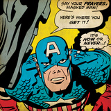 Marvel Comics Retro: Captain America Comic Panel, Villain Monologue, Say your Prayers (aged) Photo