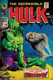 Marvel Comics Retro: The Incredible Hulk Comic Book Cover No.104, with the Rhino (aged) Plakáty
