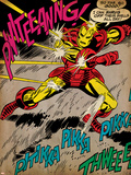 Marvel Comics Retro: The Invincible Iron Man Comic Panel, Fighting and Deflecting (aged) Posters