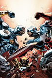 New Avengers No.24 Cover: Cyclops, Captain America, and Wolverine Fighting Poster by Mike Deodato