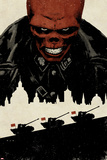 Red Skull No.5 Cover: Portrait of Red Skull with Tanks and City Silhouette Posters by David Aja