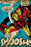 Marvel Comics Retro: The Invincible Iron Man Comic Panel, Fighting and Shooting, Shoosh! (aged) Print