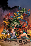 New Avengers No.20 Cover: Jessica Jones, Ms. Marvel, Skaar, Wolverine, Spider-Man and Others Print by Mike Deodato