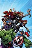 Avengers Assemble No.1 Cover: Captain America, Hulk, Black Widow, Hawkeye, Thor, and Iron Man Kunstdrucke von Mark Bagley