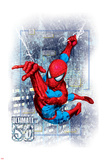 Spider-Man Badge: Squares, City, and Logo, Spider-Man Swinging Posters