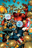 Age of Ultron 6 Cover: Red Hulk, Captain America, Ultron, Storm Print by Brandon Peterson
