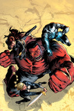 Hulk No.43 Cover: Red Hulk, Valkyrie, Black Widow, and War Machine Fighting Print by Patrick Zircher