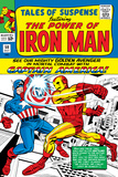 Marvel Comics Retro: The Invincible Iron Man Comic Book Cover No.58, Facing Captain America Posters