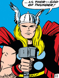 Marvel Comics Retro: Mighty Thor Comic Panel; God of Thunder! Holding Hammer Photo