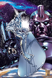 Silver Surfer No.1 Cover: Silver Surfing Riding his Silver Surf Board in Space Poster by Carlo Pagulayan